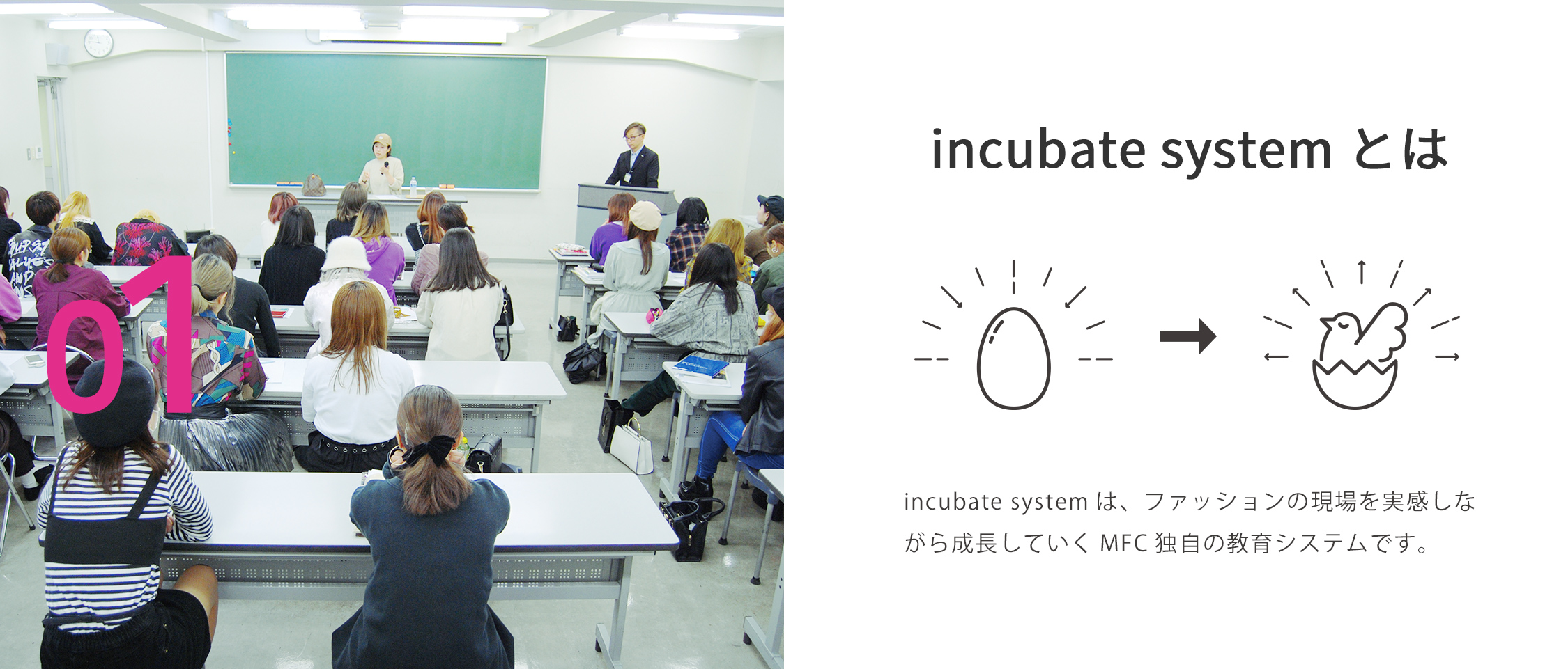 incubate systemとは incubate systemは、ファッションの現場を実感しながら成長していくMFC独自の教育システムです。